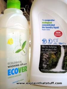 Two bottles of eco-friendly washing detergent, side by side.