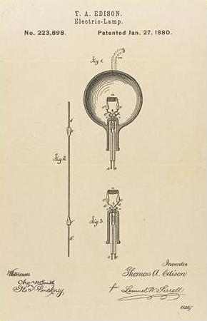 Thomas Edison's original 1880 electric lamp patent