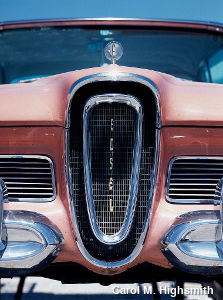 Radiator of a pink Ford Edsel