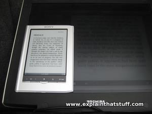 A comparison of an E Ink ebook display and an LCD screen in bright sunlight