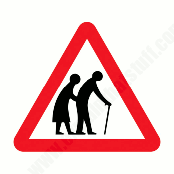 Elderly people UK road traffic sign. Crown copyright.