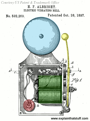 Old patent artwork of a clapper-type doorbell by Henry Albright from US Patent 592269.