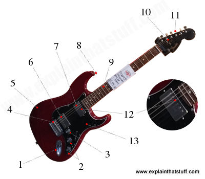 Labelled, numbered photograph showing the main parts of a Fender Stratocaster electric guitar.