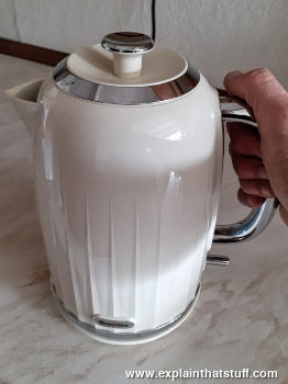 A white plastic electric jug kettle.
