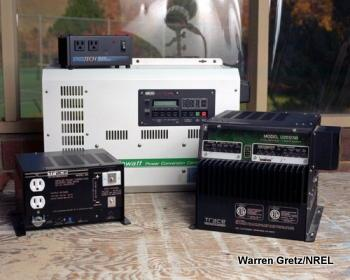 Photo showing a selection of electricity power inverters.