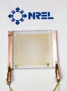 photo glass wired to electric contacts and appearing transparent clear