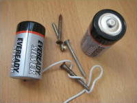 Parts needed for making your own electromagnet.
