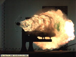 Photo of a projectile being fired on an electromagnetic railgun