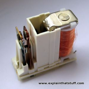 A typical relay with its plastic outer case removed, showing the electromagnet and the spring contacts inside.