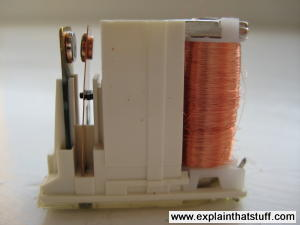 An electromagnetic relay photographed from the side, showing the spring contacts and electromagnet.