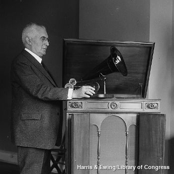 Emile Berliner with one of his disc-type gramophones