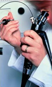 Endoscope with a physician looking down it