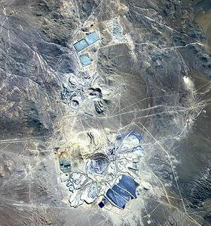 Satellite photo (visible and near-infrared image) of Escondida Mine Chile