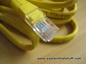 Ethernet networking cable in close-up