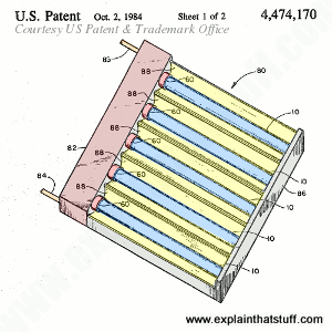 Patent artwork from US Patent 4,474,170 showing the key components of an evacuated-tube type solar hot water panel.