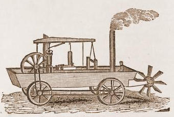 Black and white sketch of the Oruktor Amphibolos car by Oliver Evans from The Mechanic, July 1834.