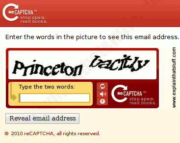 Example of a RECAPTCHA mailhide.