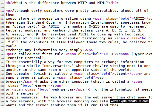 Example of HTML code for a web page