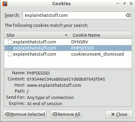 Cookies used by explainthatstuff.com, showing the contents of the PHPSESSID cookie and when it expires.