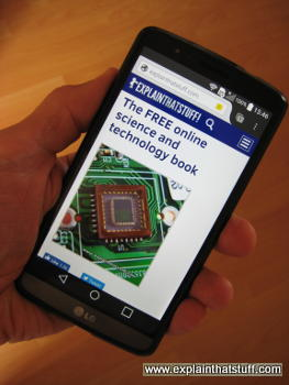 Screenshot of explainthatstuff.com on a large LG phablet smartphone