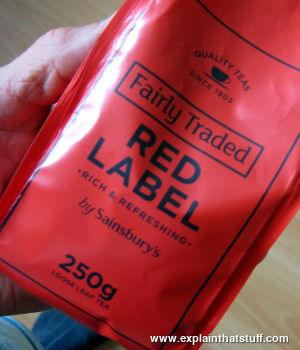 A bag of Sainsbury's fairly traded red-label tea.