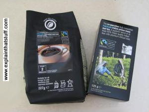 Fair trade tea and coffee packets.