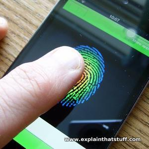 A simulated fingerprint scan using a smartphone app.