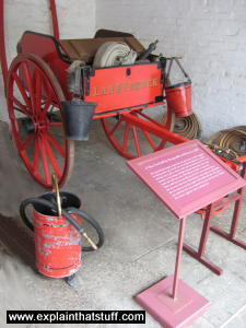 A historic fire engine cart from 1880