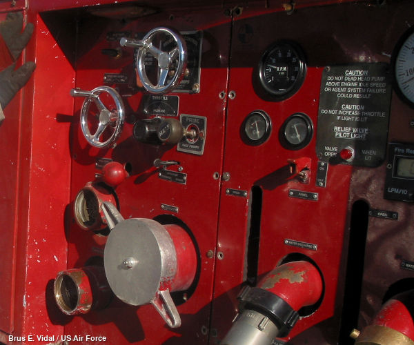 Closeup of the red pump panel with water gauges, hose connections, foam inlets, and more