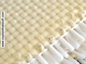 Typical fire blanket in closeup, showing the woven fiberglass fibers.
