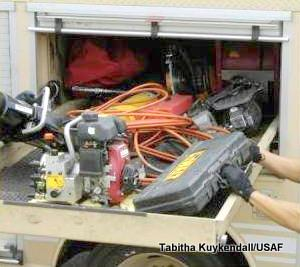 Miscellaneous equipment carried inside a fire truck