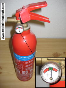 Basic dry powder fire extinguisher with (inset) pressure gauge needle showing 14 bars.