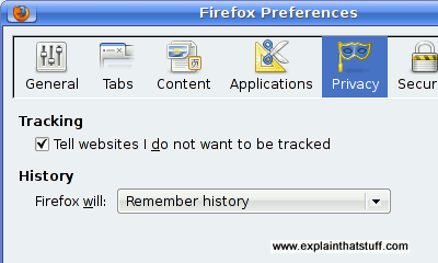 How to set the don't track option in the Firefox browser.
