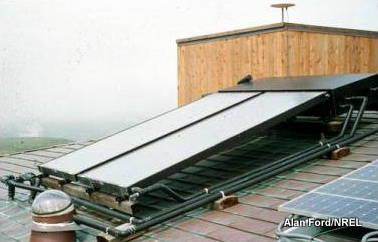 Photo of flat-plate solar thermal collector on house roof.