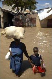 Mother and child in flooded city