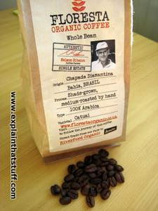 A bag of Floresta direct trade organic coffee from Bahia, Brazil.