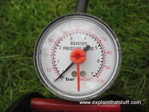 The air pressure gauge on the top of a typical foot pump