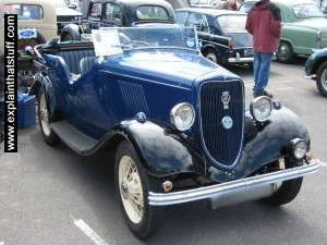 A blue Model Y Ford from 1935.