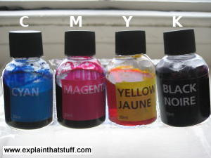 Bottles of black, cyan, magenta, and yellow ink used for four-color printing.