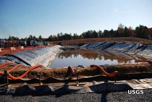 Water contained in a pond at a fracking site.