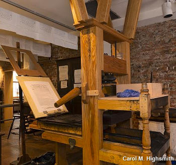 A wooden printing once used by Benjamin Franklin. Photo by Carol M. Highsmith