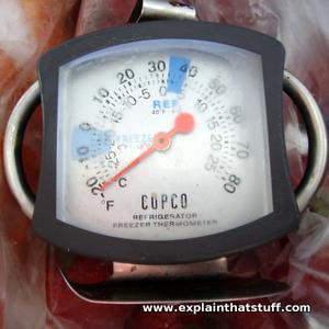 A simple dial thermometer in a freezer showing a temperature of about minus 30 Celsius or minus 25 Fahrenheit