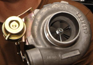 A Garrett GT2871R turbocharger from a Pontiac car