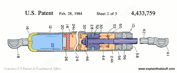 A gas spring with a liquid-filled chamber designed to stay open even in cold weather. US Patent 4,433,759