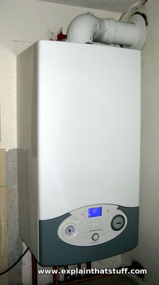 A modern Ariston A-rated, condensing, combination gas heating and hot water boiler