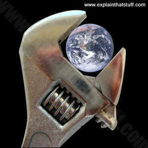 Geoengineering conceptual illustration: Earth inside a spanner.