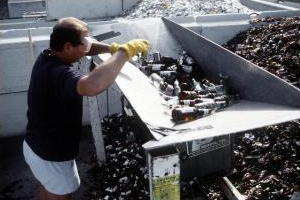 Glass being recycled