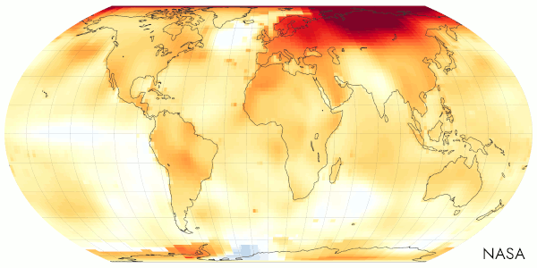 Global temperature anomalies compared to the mid-20th century mean.