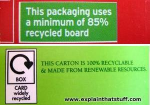 Top: 85% recycled: example of a meaningful eco label. Bottom: 100% recyclable: example of a meaningless eco label.