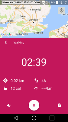 Google Fit app for Android.